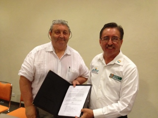 AwF's Roy Palmer & Chancellor of UTMarT, Dr. Guadalupe Acosta Villarreal with signed Collaboration Agreement