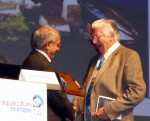 Michael New, OBE, (right) was surprised and delighted to receive the Honorary Life Membership of the European Aquaculture Society from incoming EAS President Sachi Kaushik