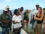 Lecturing to students and teachers in seaweed farm area in  Zanzibar, Tanzania